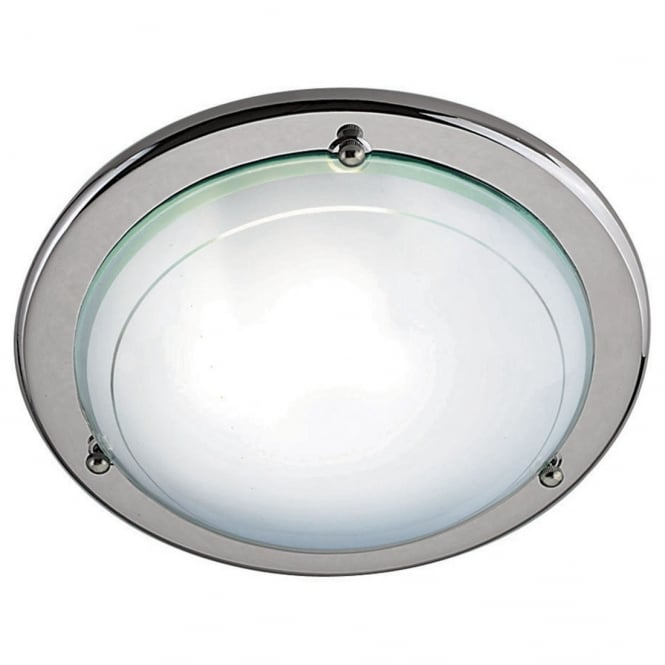 Lighting Catalogue FLUSH chrome ceiling light with clear and white glass shade
