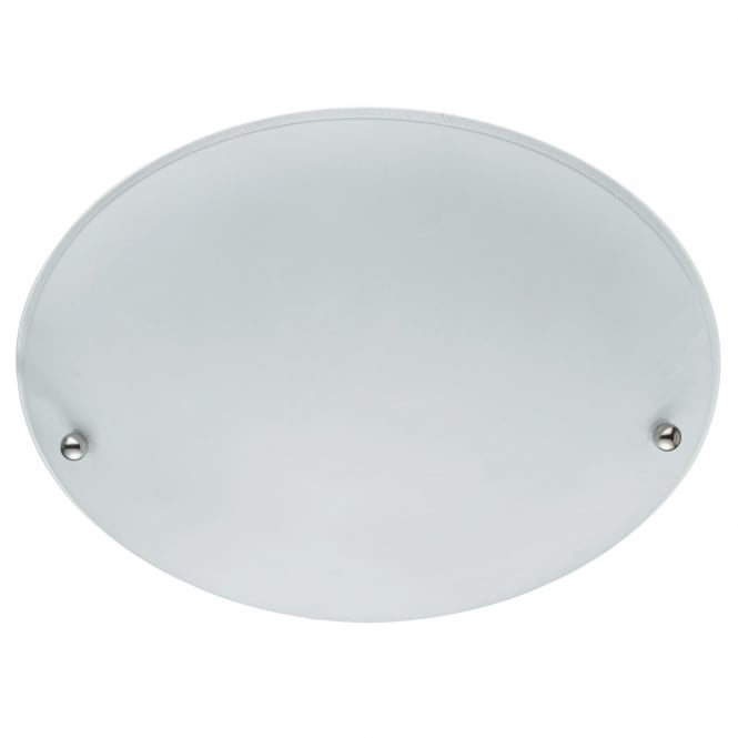 Lighting Catalogue FLUSH frosted glass round ceiling light with chrome bead detail