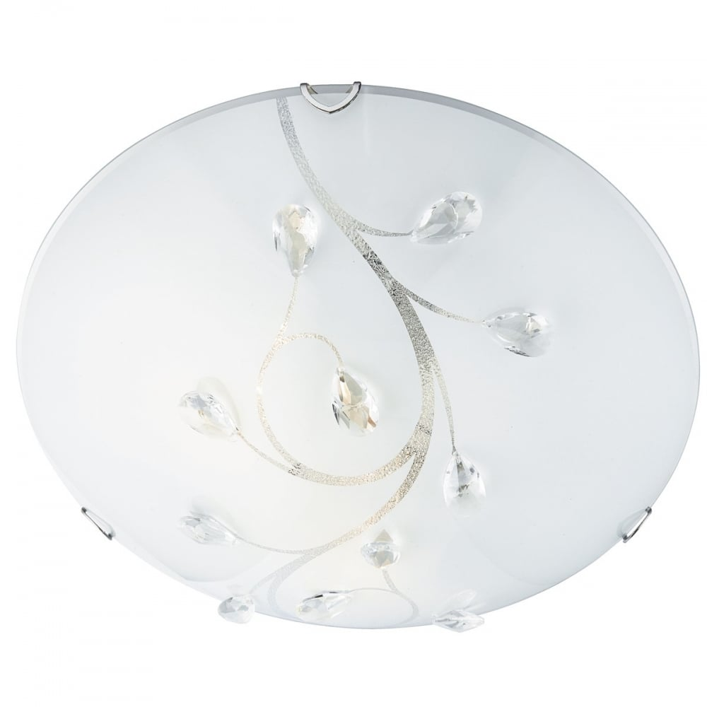 Decorative Frosted Glass Flush Ceiling Light With Crystal