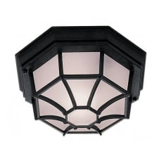 GARDEN LIGHT black aluminium & opal glass flush