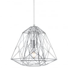 modern geometric ceiling pendant in polished chrome