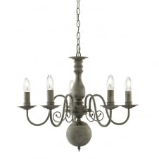 textured grey traditional 5 light ceiling pendant