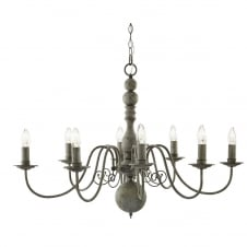 textured grey traditional 8 light ceiling pendant