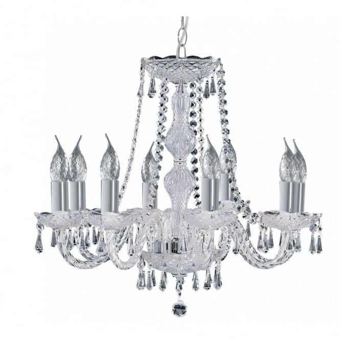 Lighting Catalogue HALE traditional 8 light chrome and crystal chandelier