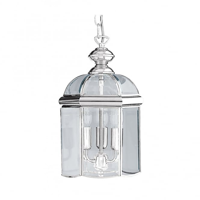 HALL LANTERN chrome ceiling pendant with 3 lights