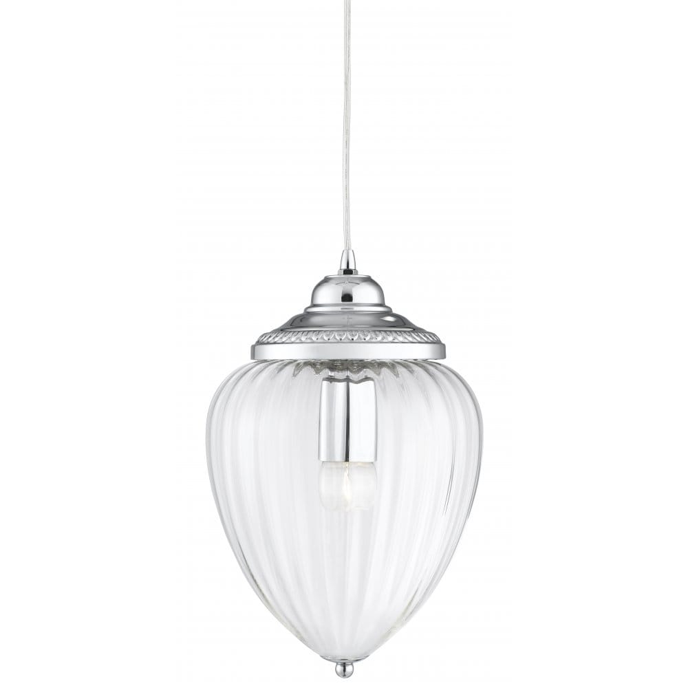 Hall Hanging Lantern In Chrome Finsih With Clear Ribbed