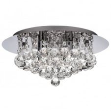 Bathroom Chandelier for Low Ceilings in Chrome with Glass Droplets