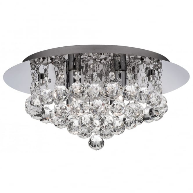 Square chrome and crystal flush 8 light chandelier for modern settings bathroom chandelier for low ceilings in chrome with glass droplets aloadofball Gallery