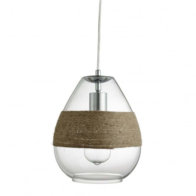 Lighting Catalogue HEMP wrapped single glass ceiling pendant