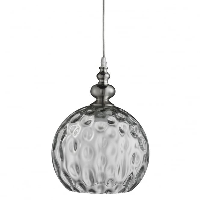 Lighting Catalogue INDIANA single globe pendant in satin silver with dimpled glass shade