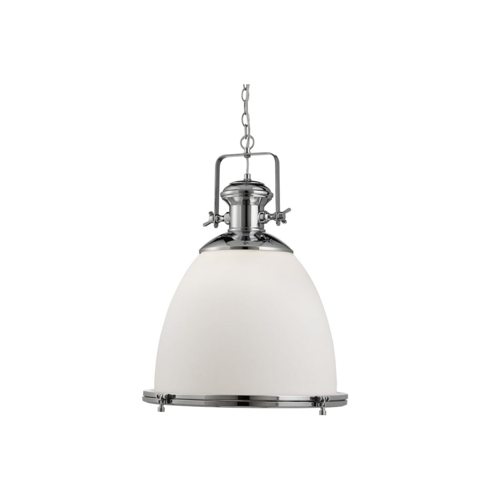 Industrial Style Chrome Ceiling Pendant With Opal Glass Shade