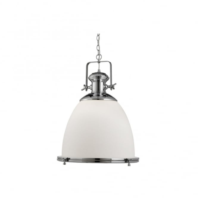 Lighting Catalogue INDUSTRIAL chrome ceiling pendant with an opal white glass shade