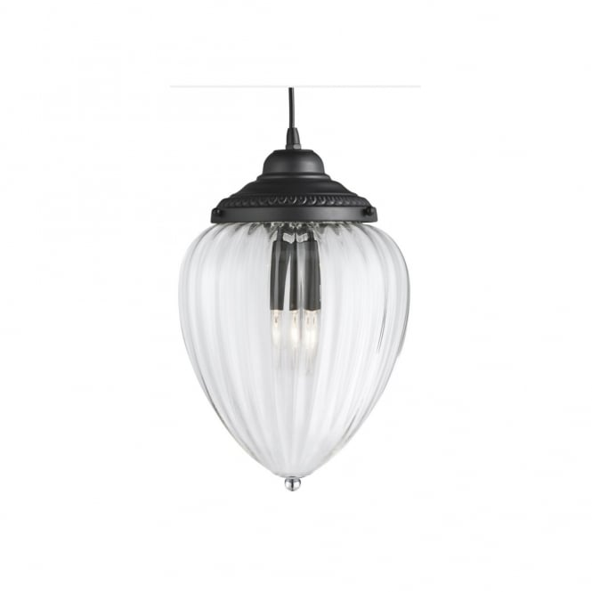 Lighting Catalogue LANTERN pendant in matt black with clear ribbed glass