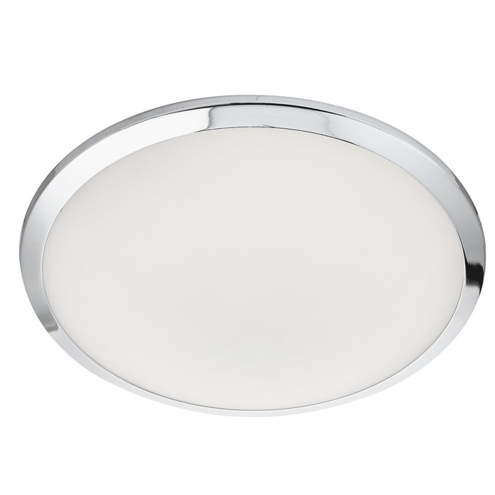 modern led bathroom ceiling light in chrome and white