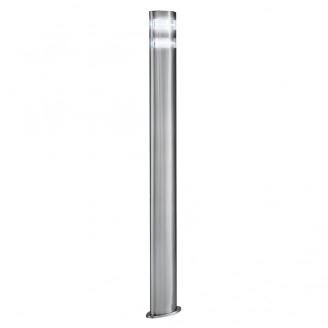 Outdoor led garden lamp post light modern satin silver ip44 mozeypictures Image collections