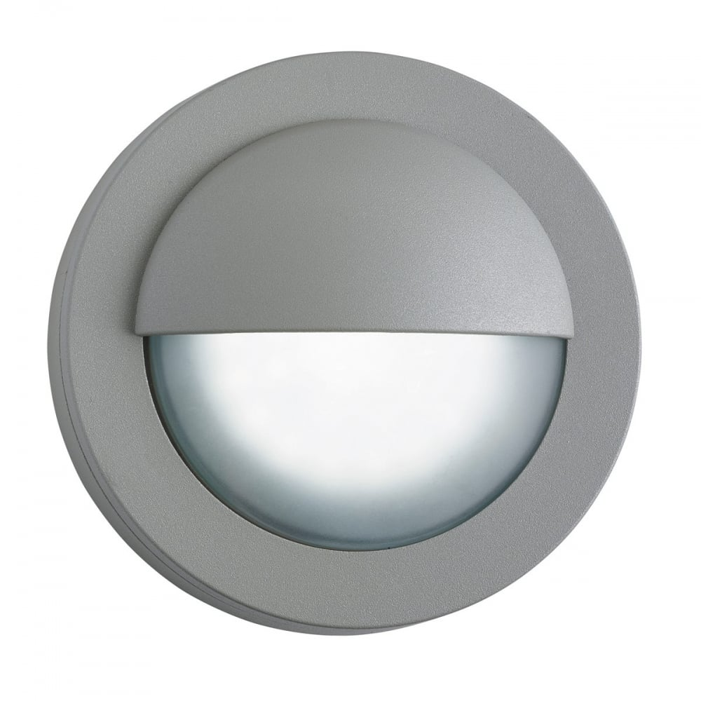 Contemporary round led exterior bulkhead in grey ip44 for Round exterior lights