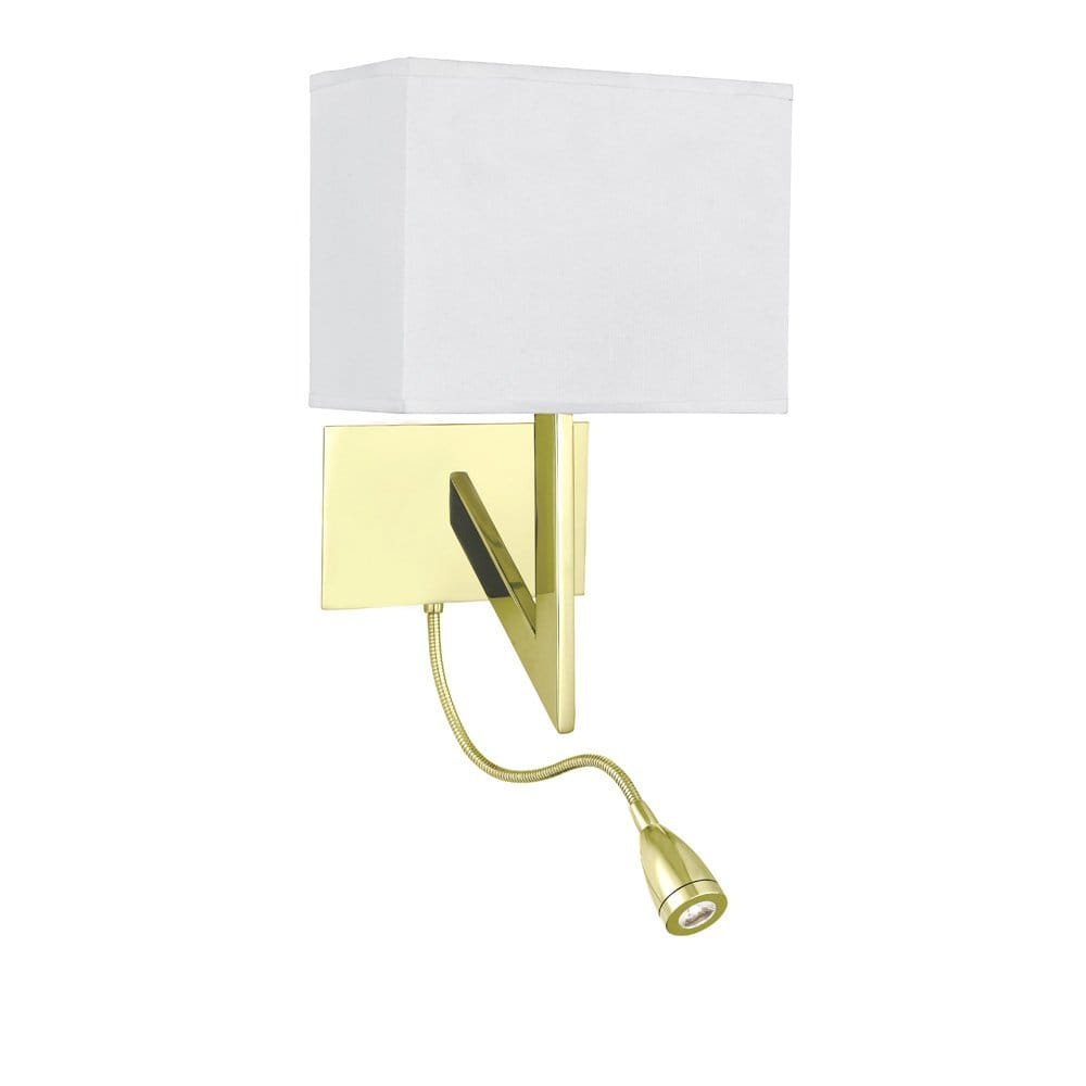 Bedroom wall light in gold polished brass with led book light for Reading lights for bedroom