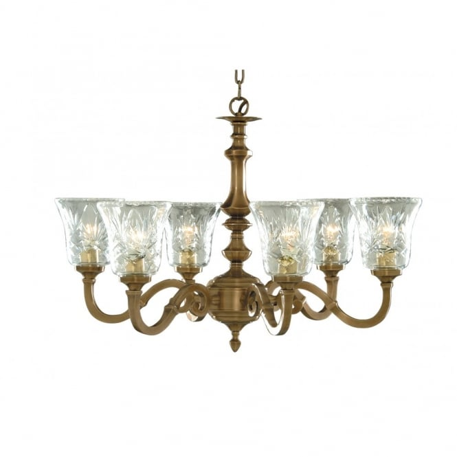 Lighting Catalogue MALAGA large 6 light antique brass ceiling pendant