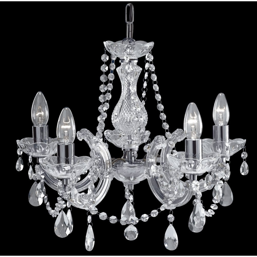 Marie Therese Crystal Chandelier On Chrome Frame With 5