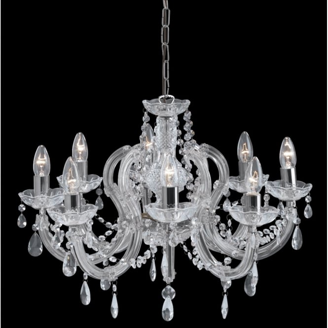 Lighting Catalogue MARIE THERESE chandelier 8 light chrome & crystal
