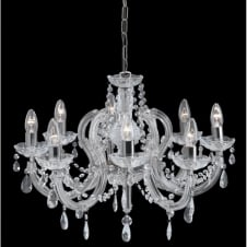 MARIE THERESE chandelier 8 light chrome & crystal