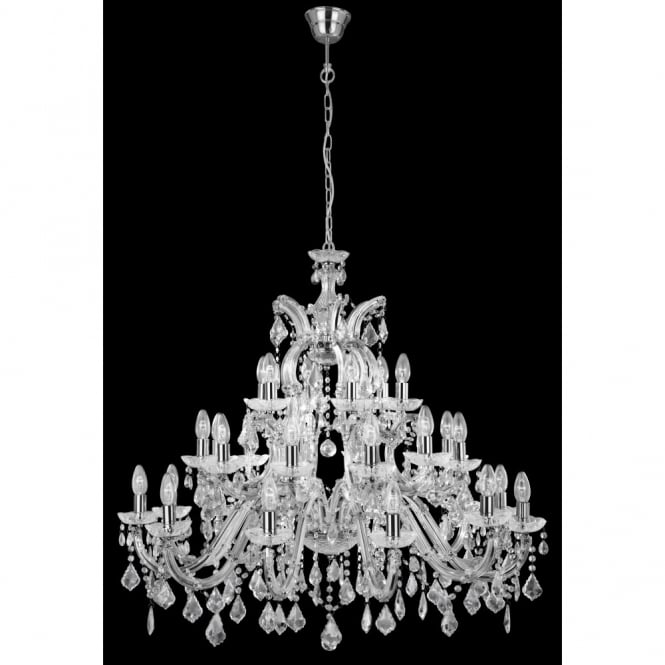 Lighting Catalogue MARIE THERESE chandelier very large 30 light chrome & crystal
