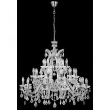 MARIE THERESE chandelier very large 30 light chrome & crystal