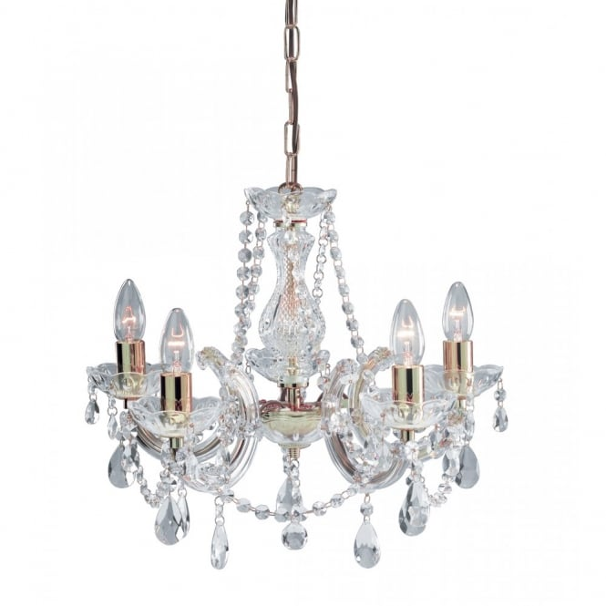 Lighting Catalogue MARIE THERESE crystal & brass 5 light chandelier