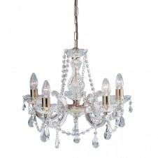 MARIE THERESE crystal & brass 5 light chandelier