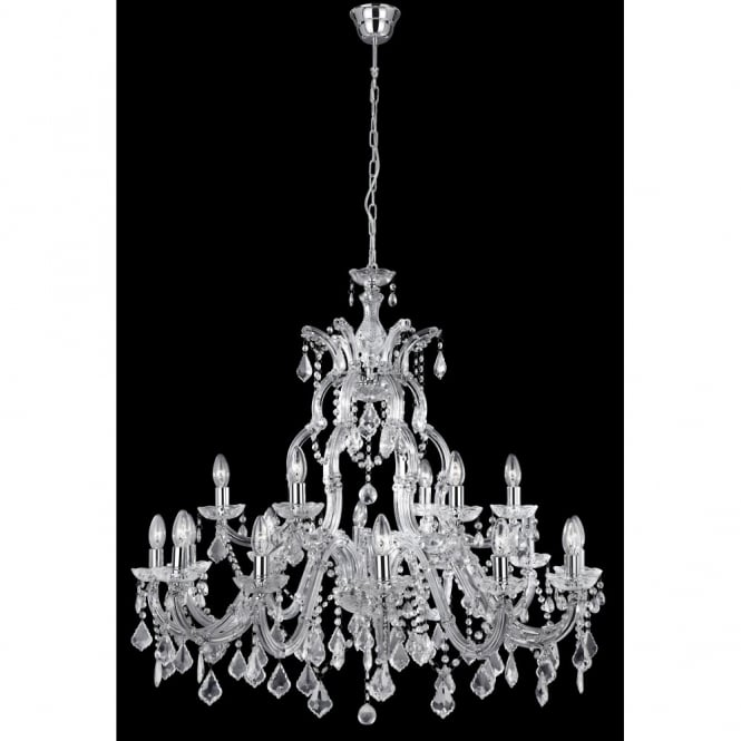 Lighting Catalogue MARIE THERESE large chandelier 18 light chrome & crystal