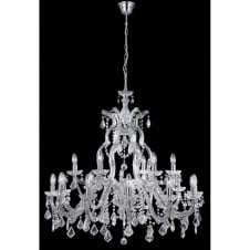 MARIE THERESE large chandelier 18 light chrome & crystal