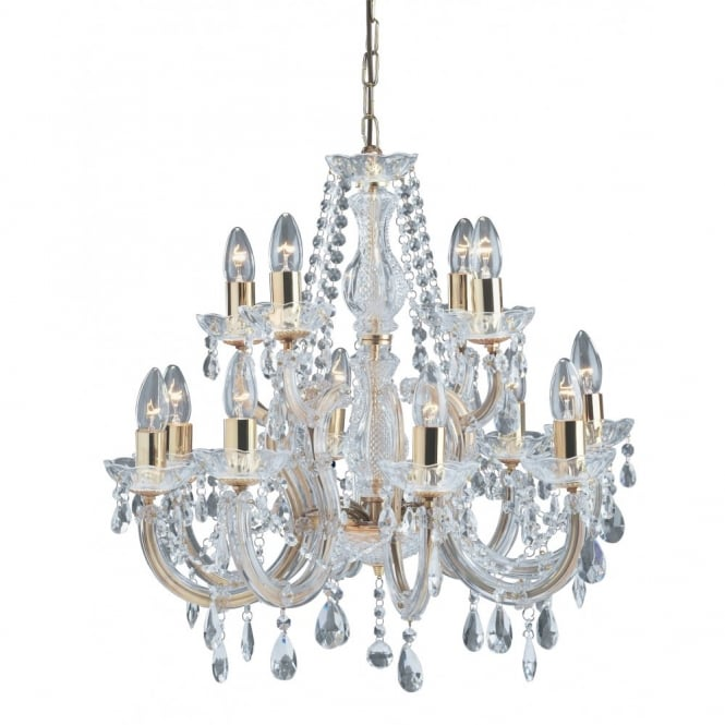 Large gold polished brass crystal chandelier with 12 lights for Lustre pas cher salon