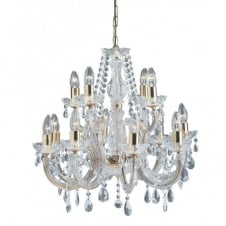 MARIE THERESE large chandelier gold brass & crystal