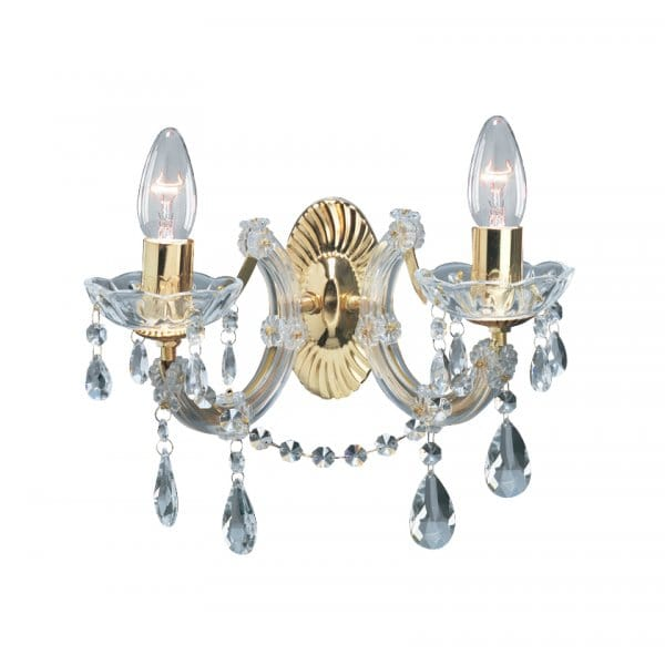 gold crystal wall light with 2 candle style lights. Black Bedroom Furniture Sets. Home Design Ideas