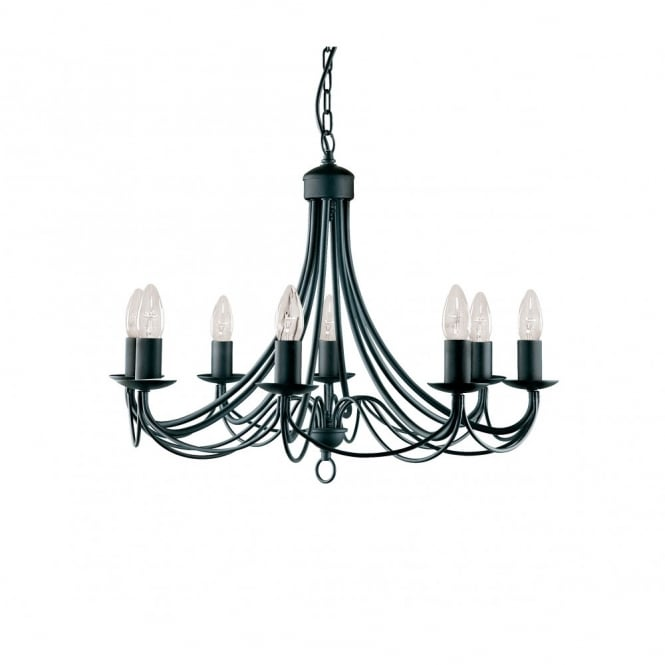 Lighting Catalogue MAYPOLE traditional 8 light black ceiling pendant