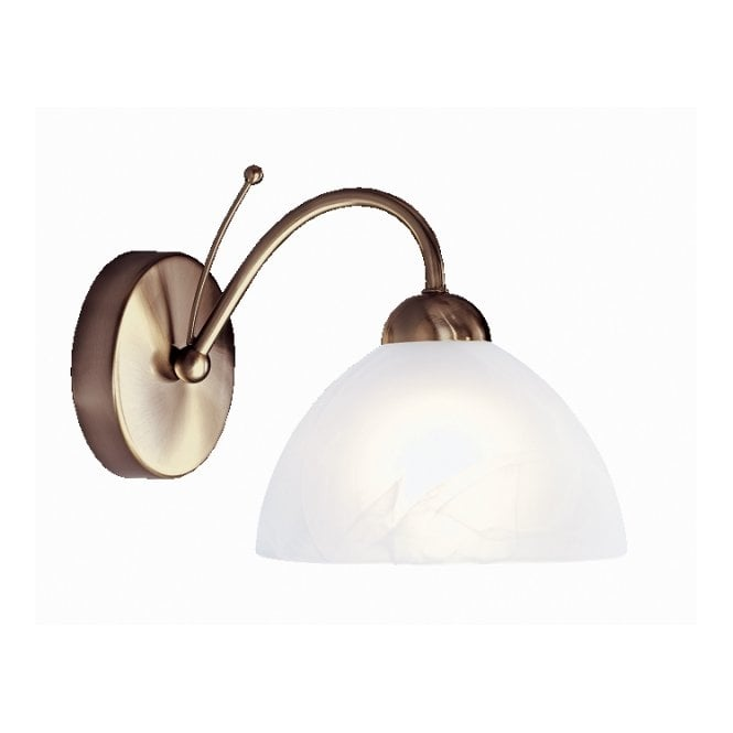 MILANESE antique brass wall light marble glass shade