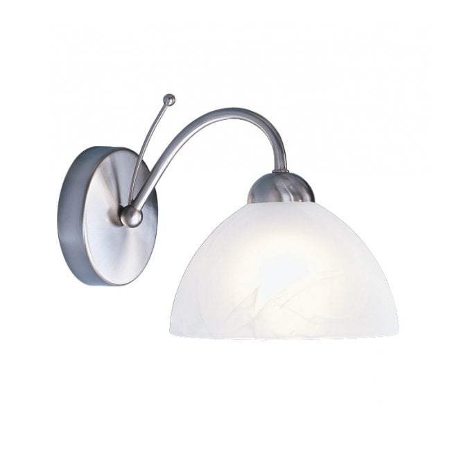 Lighting Catalogue MILANESE satin silver wall light, marble glass shade