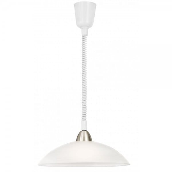 Rise And Fall Ceiling Pendant Light With Opal White Glass