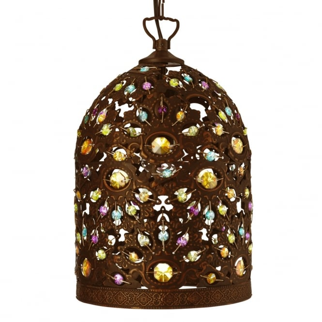 Lighting Catalogue MOROCCAN decorative antique bronze pendant with coloured acrylic beads