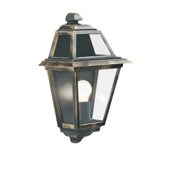 New orleans black gold flush garden wall lantern ip44 rated for Lampe exterieur avec detecteur