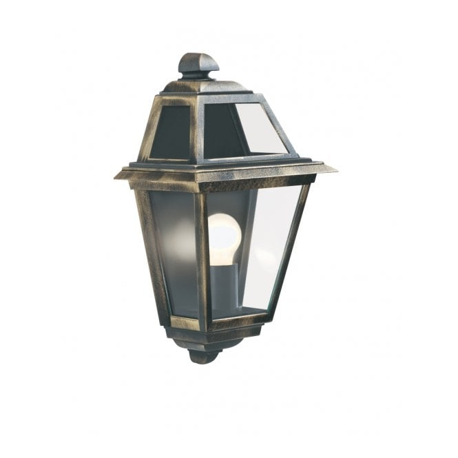 NEW ORLEANS black gold flush garden wall lantern IP44