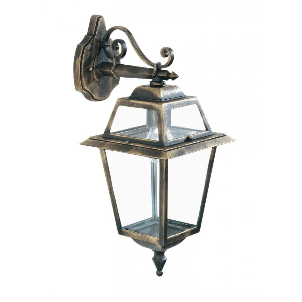 Traditional Garden Wall Lights : buy New Orleans Traditional Black Gold Garden Wall Lantern Fitting