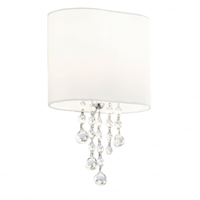 Lighting Catalogue NINA chrome wall light with white shade and crystal glass beads