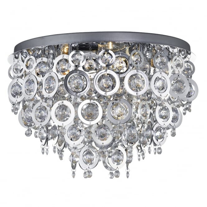 NOVA 5 light flush chrome and acrylic ceiling light