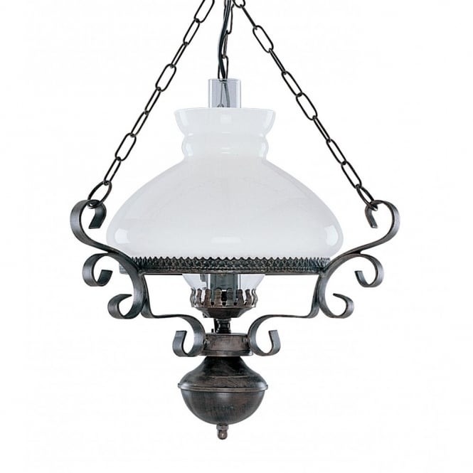 Victorian Hanging Oil Lantern Pendant Light, Rustic With