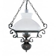 OIL LANTERN traditional rustic replica lantern with opal glass shade