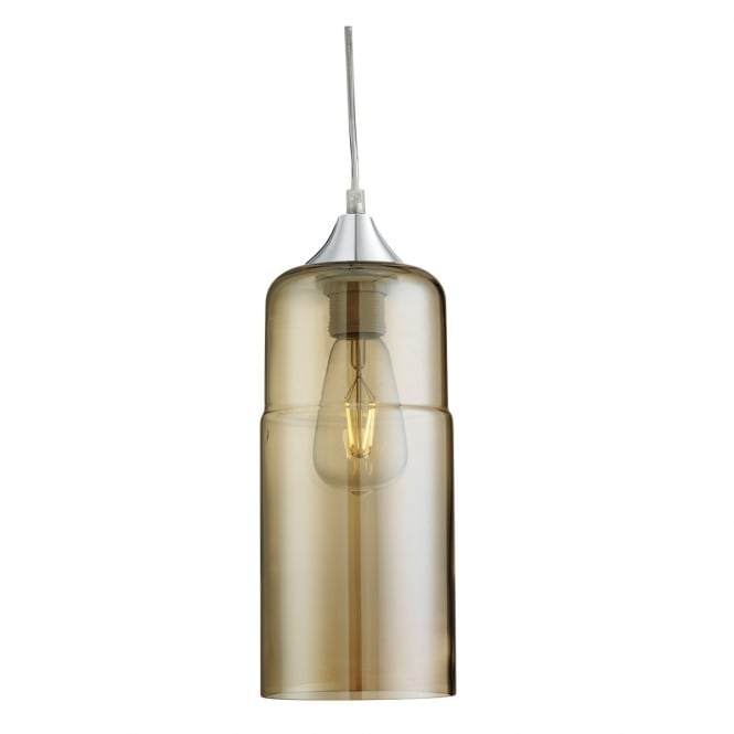 Lighting Catalogue OLSSON single amber glass cylindrical ceiling pendant with chrome suspension