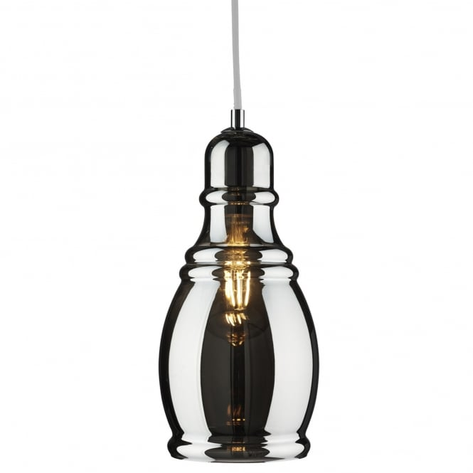 OLSSON smokey glass ceiling pendant with polished chrome suspension