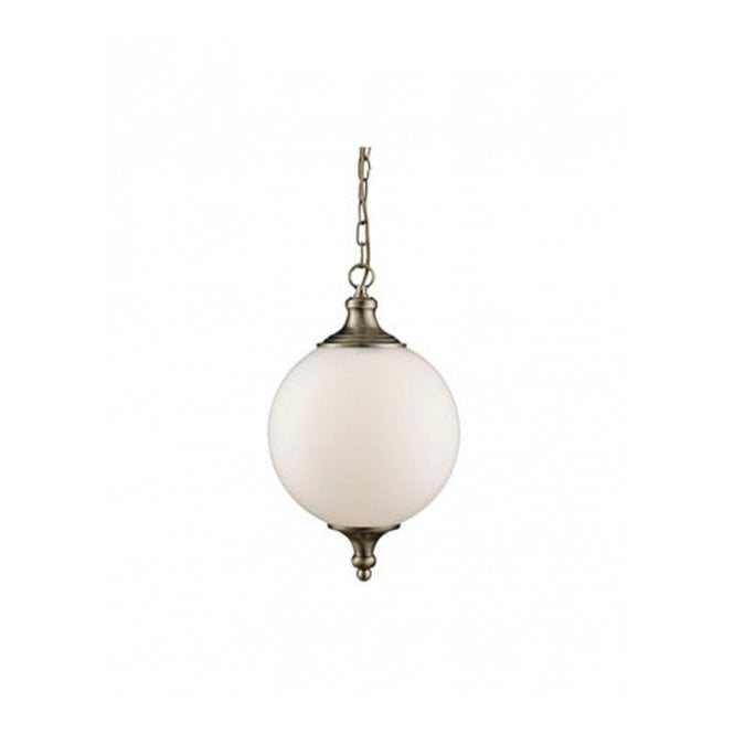 Lighting Catalogue OPAL glass globe ceiling pendant with antique brass fixture