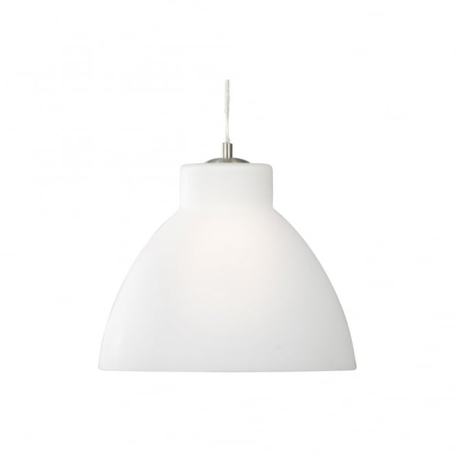 Lighting Catalogue OPAL glass pendant with satin silver trim